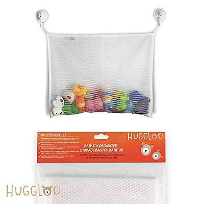"HUGGLOO Baby Bath Toy Organizer,(18""x14""), White Storage Bag"