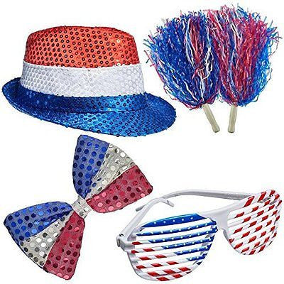 4th of July Set Patriotic Sequin Blinking Hat 4th of July