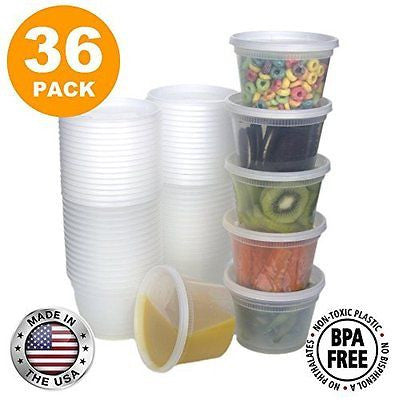Food Storage Containers with Lids Round Plastic  Cups 16 oz Pint Size 36 Pack]