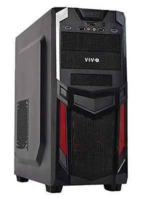 VIVO ATX Mid Tower Computer Gaming PC Case / Black Red Desktop Shell