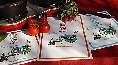 Camping For Foodies Flexible Cutting Mats With Retro RV Camper Trailer Theme De