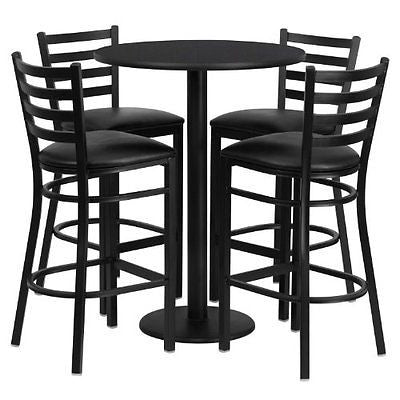 Flash Furniture Round Black Laminate Table Set 4 Ladder Back Metal Bar Stools