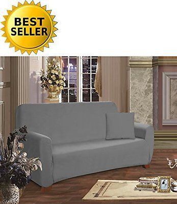 Elegant Comfort Collection Soft Furniture Jersey STRETCH SLIPCOVER Sofa Gray