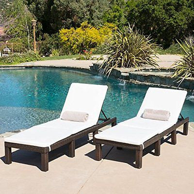 (Set of 2) Estrella Outdoor PE Wicker Adjustable Chaise Lounge Chairs