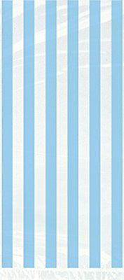 Light Blue Striped Cellophane Bags, 20ct