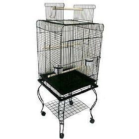 Brand New Parrot Bird Cage Cages Play W/Stand L24xW16xH53 *Black*