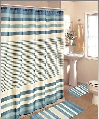 15PC BLUE BEIGE STRIPE BATHROOM BATH MATS SET RUG CARPET SHOWER CURTAIN HOOKS