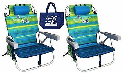 2 Tommy Bahama Backpack Beach Chairs/ Green + 1 Medium Tote Bag