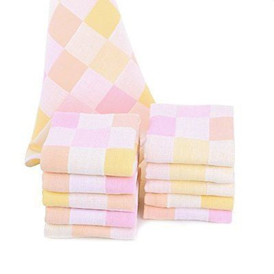JISEN? Baby Newborn Cute Pink Square Muslin Cotton Baby Small Towels
