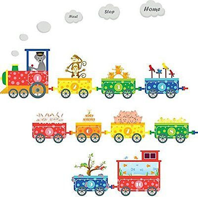 Numbers Pet Train Wall Decals - Fun and Educational Animals for Nursery