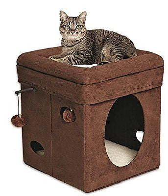 MidWest Homes for Pets Curious Cat Cube, Brown Suede