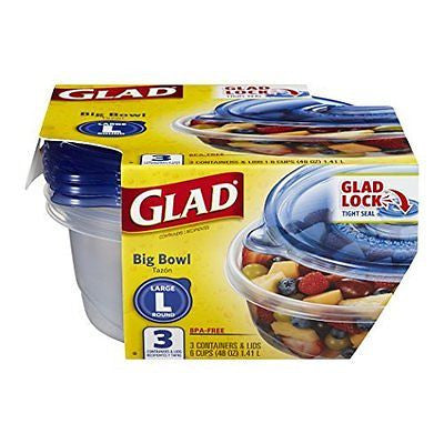 Glad Food Storage Containers Big Bowl 48 Ounce 3 Count