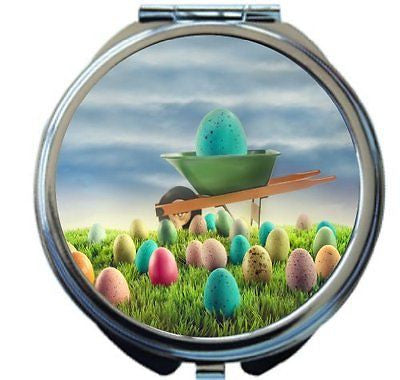 Rikki KnightTM Blue Easter Egg in Wheelbarrow amongst Spring Color Design