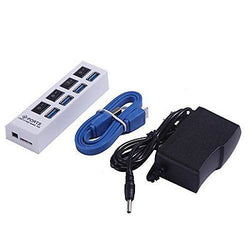 4-Port Super Speed USB 3.0 Hub On Off Switches Data Cable Power Adapter