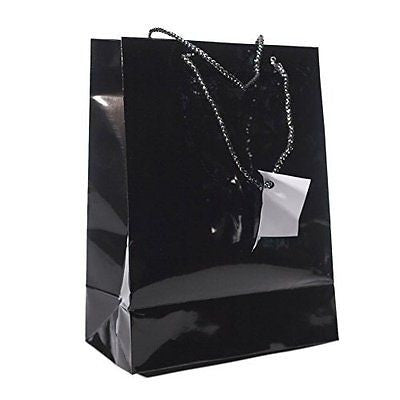 Medium Black Gift Bags (1 Dozen) - Bulk [Toy] (Black)
