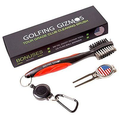 Golf Club Cleaner Brush Groove Spike Metal Divot Tool Flag Magnetic Ball Marker