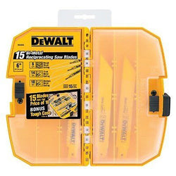 DEWALT DW4890 Bi-Metal Reciprocating Saw Blade Tough Case Set 15-Piece