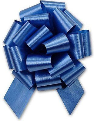"ROYAL BLUE Pull String Bows - 8"" Wide 20 Loops LARGE (2 & 1/2"" ribbon)"