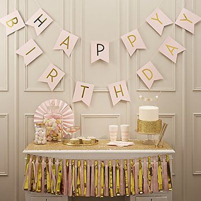 Ginger Ray Pastel Perfection and Gold Foiled Happy Birthday Bunting Banner