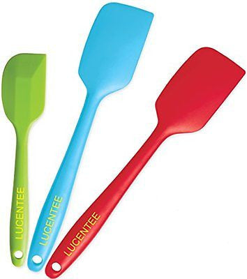 Lucentee 3-Piece Silicone Spatula Large 1 Small Heat Resistant Cooking Utensils