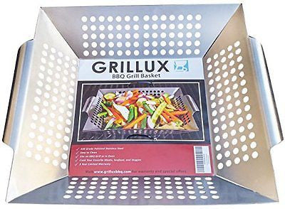 BBQ Vegetable Grill Basket - Use as Wok, Skillet, or Smoker - Durable 430 Grade