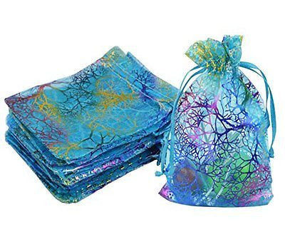 Marrywindix 100pcs Blue Organza Jewelry bags Candy Pouch Chocorate Pouch Party