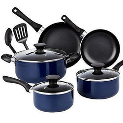 10 Piece Non stick Black Soft handle Cookware Set Blue