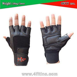 4Fit Leather Weight Lifting Gloves Long Wrist Wrap Padded Strength Training Gym