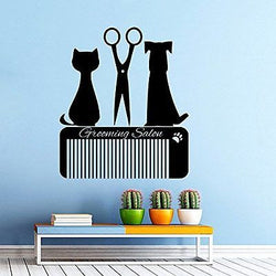 Grooming Salon Wall Decal Pet Shop Vinyl Sticker Decals Dog Comb Scissors Groomi