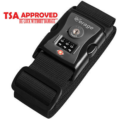 TSA Lock Adjustable Travel Luggage Strap Belt for Bag Suitcase VG5120 BLACK
