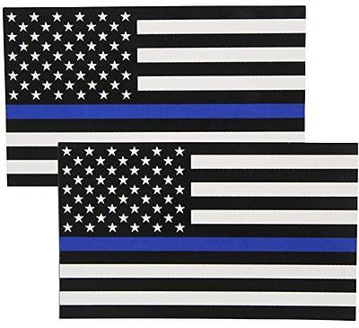 Thin Blue Line Flag Decals - 3x5 in. Black, White, and Blue American Flag