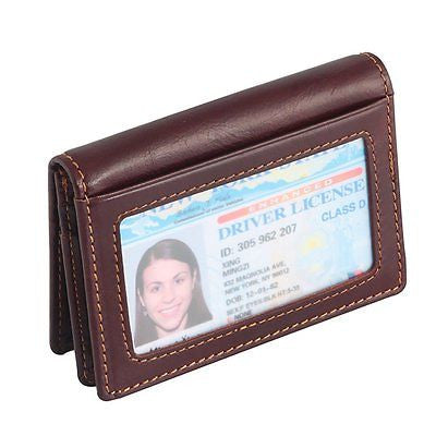 Vintage Unisex RFID Blocking Minimalist Card Wallet ID Window Gift Box