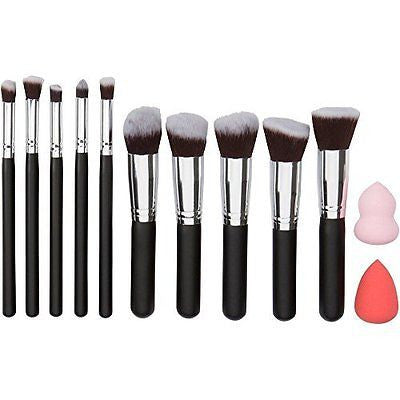 Kabuki Makeup Brush Set 10 Pcs And 2 Makeup Blenders - Everything You Need