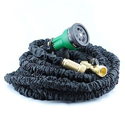 50ft Expandable Garden Hose 3/4' Solid Brass fitting Triple latex core