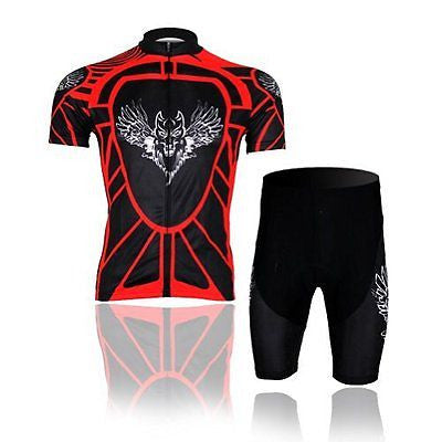 Baleaf Men's Short Sleeve Cycling Jersey 3D Padded Short Set Red Flying Wolf