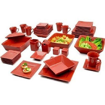 Red 45-Piece Square Banquet Porcelain Dinnerware Set Service for 6 Red
