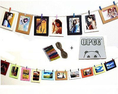 OPCC Wall Deco DIY Paper Photo Frame with Mini Clothespins and Stickers - Fits