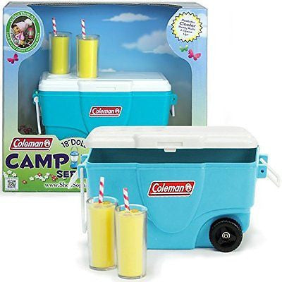 18 Inch Sophia's Doll Accessories, Aqua Coleman? Cooler with Lemonade Glasses
