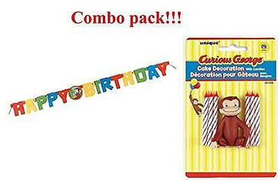 Curious George Cake Topper & Birthday Candle Set and Happy Birthday Banner