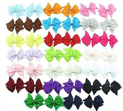 20 Pair 3.5 Inch Hair Bows Girls Children Alligator Grosgrain Ribbon Hair Clips
