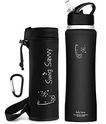 Swig Savvy's Stainless Steel Insulated Water Bottle, Wide Mouth 25 Oz Capacity