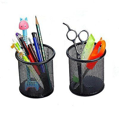 Elife 2 pcs Black Round Steel Mesh Style Pen Pencil Cup Desk Organizer Holder