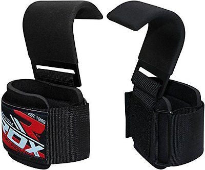 RDX Power Weight Lifting Training Gym Straps Hook bar Wrist Support Lift Gloves