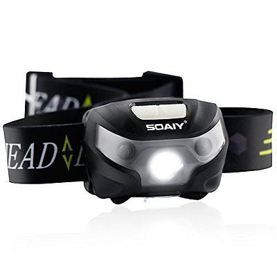 SOAIY Headlamps LED for Camping Running Hiking Reading ON/OFF by Hand