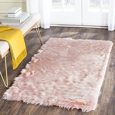 Safavieh Faux Sheep Skin Collection FSS237A Handmade Ivory Area Rug
