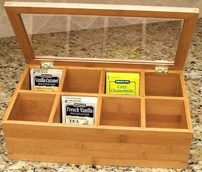 Lipper International Bamboo Tea Storage Box clear