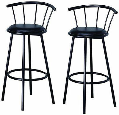 BTExpert Swivel Dining Bar Stool Chairs with Footrest & Back, Black