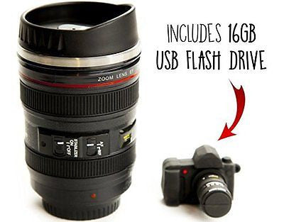 Canon Camera Lens Coffee Mug & 16gb USB Flash Drive Ultimate Photographer Gift S