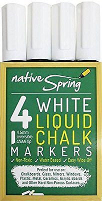 Native Spring White Liquid Chalk Marker Pens 4.5mm Reversible Tip 4-Pack