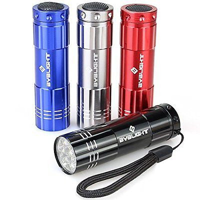 Pack of 4, BYB Super Bright 9 LED Mini Aluminum Flashlight with Lanyard